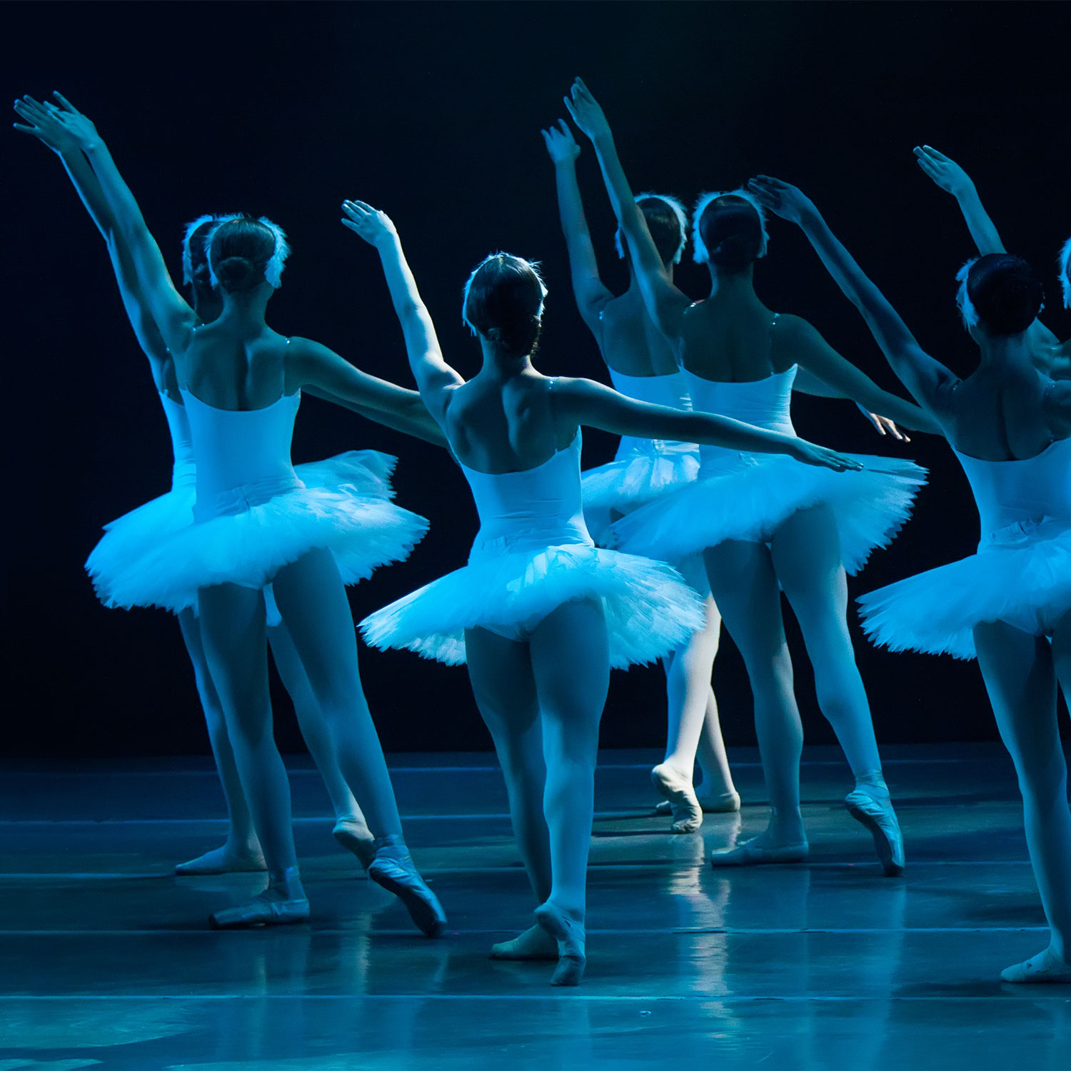 ballerinas on stage with blue lighting